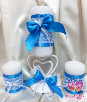 Свадебные свечи украшаем своими руками лентами кружевом